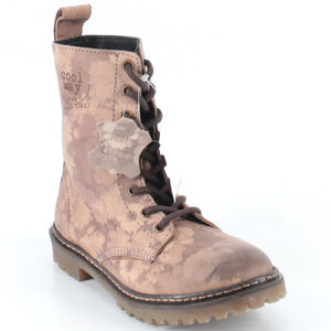Coolway Floral Print Leather Combat Boots